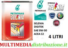 4 LITRI OLIO MOTORE ORIGINALE SELENIA DIGITEK P.E. 0W30 C2 EURO6 FIAT9.55535-GS1