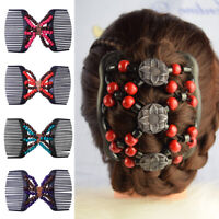 Magic Wood Beads Double Hair Comb Clip Stretchy Women Hairwear 2# O3U2