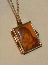 Lovely Theotokos Madonna Mary Christ the Lord Goldtone Religious Locket Necklace