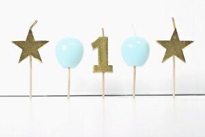 PREMIUM 3D First 1st Baby Boy Milestone Cake Candles, Birthday Cake, Cake Topper