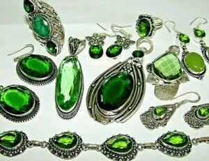Selection of green Peridot jewellery, rings bracelets pendant necklaces earrings