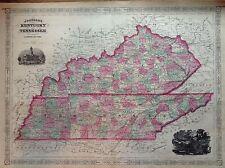 JOHNSON'S KENTUCKY TENNESSEE incisione originale  1866 cartina  STATI UNITI  MAP