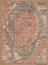 LÜBECK antique town city stadtplan. Schleswig-Holstein karte. BAEDEKER 1904 map