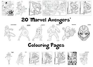 MARVEL AVENGERS Colouring Pages - 20 Sheets - Perfect for Rainy Days & Holidays!