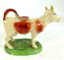 ANTIQUE EARTHERNWARE POTTERY COW CREAMER RUSSET RED 6