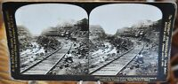 Antique Stereograph Card - Dumping Train, Culebra Cut, Panama Canal c.1907