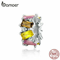 BAMOER Solid 925 Sterling silver Charm Bead Colorful zircon Fit Bracelet Jewelry