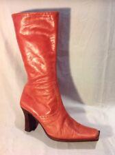 Karen Millen Orange Mid Calf Leather Boots Size 39