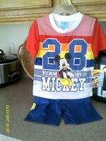 DISNEY TODDLER BOY OUTFIT SIZE 3T KNIT TOP AND SHORTS SET NEW WITH TAGS