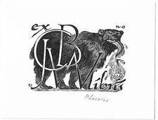 PETER LAZAROV: Exlibris für C. B. W., Lachs fressender Bär