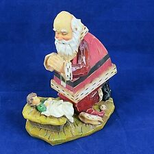 Wood Musical Santa Praying Nativity Scene Baby Jesus Oh Come Let Us Adore Him