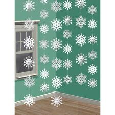 7 x Girlande Schneeflocke silber weiß 42 Schneeflocken