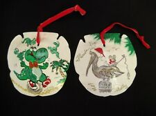 2 HAND PAINTED SIGNED FAUX SAND DOLLAR CHRISTMAS TREE ORNAMENTS FLORIDA KEYS