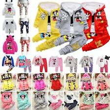 Kids Girls Mickey Minnie Mouse Sweatshirt Hooded Tops Pants Outfit Set Tracksuit