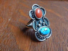 Vintage Navajo Turquoise Red Coral Sterling Silver Ring size 7