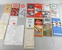 Lot Of 16 Mid century Railroad Schedules Vintage Ephemera Train Rail road
