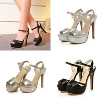 Womens Sexy Party Nightclub High Heels Ankle Strap Peep Toe Slingbacks Shoes