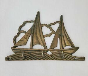 Brass Sailboat Wall Key Holder Leash Mask 3 Hook Sailing Nautical Beach Boho