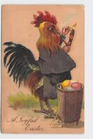ANTIQUE POSTCARD ANTHROPOMORPHIC EASTER CHICKENS ROOSTER SMOKING CIGAR PIPE EGGS