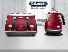 Kettle and Toaster Sets Delonghi Icona 4 Slice Toaster and Electric Kettle Red