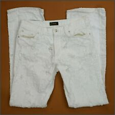 VERSACE WHITE STRAIGHT RIPPED DESTROYED MEN'S JEANS W32 L34 UNIQE MODEL ITALY