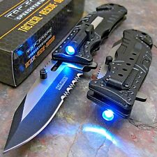 TAC-FORCE Black SHERIFF Spring Assisted Open LED Tactical Rescue Pocket Knife