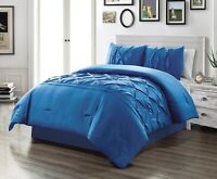 Full Size Solid Royal Blue Double-Needle Stitch Pinch Pleat Comforter Set