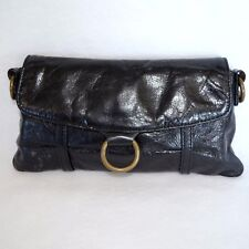 Hobo International Clutch Wallet Handbag Women Black Glazed Leather Organizer