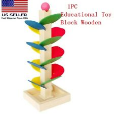Educational Toy  Montessori Block Wooden Tree Marble Ball Run Track Baby Toys US