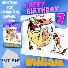 COW AND CHICKEN - PERSONALISED Birthday Card Son Brother Nephew Grandson