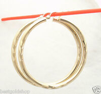 "3mm X 45mm 1 3/4"" Large Diamond Cut Hoop Earrings REAL 10K Yellow Gold"