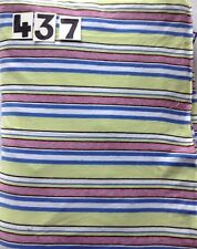 Yellow blue white black red stripe cotton fabric remnant 4-way stretch 437