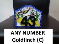 ANY NUMBER Goldfinch (C) Coloured Glass Mosaic House Number Plate Sign Plaque
