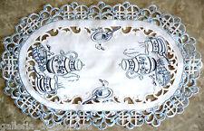 TEATIME ~  Lace  Doily Placemat Table Runner  White  Blue Tea English  European