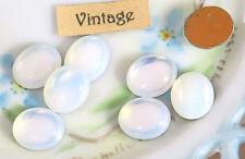 Vintage Cabochons White Opal 12x10mm Ovals Foiled Flat Back Czech Vintage (26B)