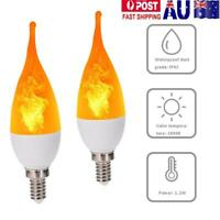 E12 LED Flicker Fire Flame Bulb Candle Light Chandelier Lamp Xmas Home Decor AU