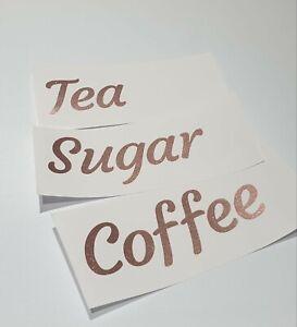 Glitter Rose Gold Vinyl Decal sticker Sugar Tea Coffee Set of 3