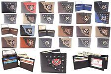 Wholesale Lot of 12 Men's Leather Bifold YL Wallets Western Metal Buckle Cross