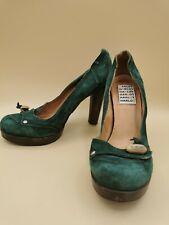 Harlot ladies pumps green wooden heels size 5