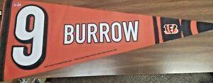"JOE BURROW CINCINNATI BENGAL'S PLAYER PENNANT 29 1/2"" x 11 1/2"" JERSEY #9 ON IT"