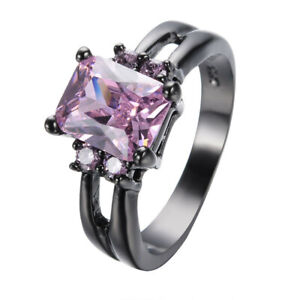 Women's Black Gold Filled Rectangle Pink Crystal Zircon Ring Jewelry Size 7