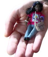 Tiny 3.5'' fully articulated black ethnic OOAK miniature handmade art doll