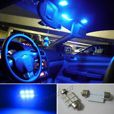 "2X Blue 36mm 1.42"" 6 SMD 5050 LED Festoon Interior Dome Map Light Bulb 6411 6418"