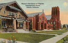 Women's Club House & Pilgrims Congregational Church, Pomona, CA c1910s Postcard