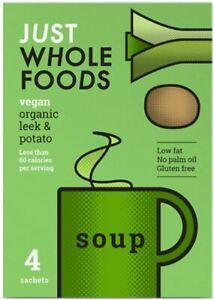 JUST WHOLEFOODS |Organic Vegan Leek & Potato Soup 17g (8x4 Pack) Clearance