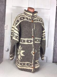 HANDKNIT Nordic Wool Cardigan Sweater Womens XL