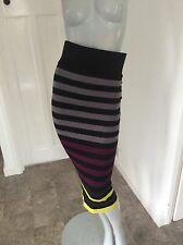 River Island Size 8 Ultra High Waisted Striped Midi Pencil Skirt