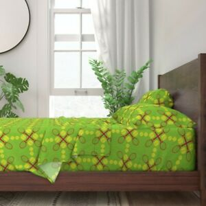 Tennis Green Racket Large Scale 100% Cotton Sateen Sheet Set by Roostery