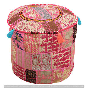 Indian Floor Pillows Round Ottomans Handmade Pink Footstools Pouffe Decor Cover