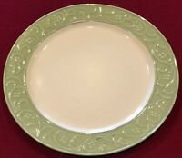 "Pier 1 ANTIQUE FLORAL Stoneware 10 3/4"" Green Dinner Plates Set of 6 EUC"